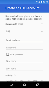 HTC Account—Services Sign-in