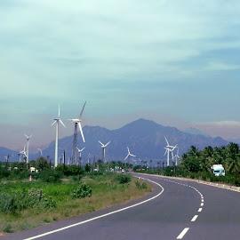No Traffic! by Priyanka Gupta - Landscapes Travel ( highway, generated, beautiful, power, windmill,  )