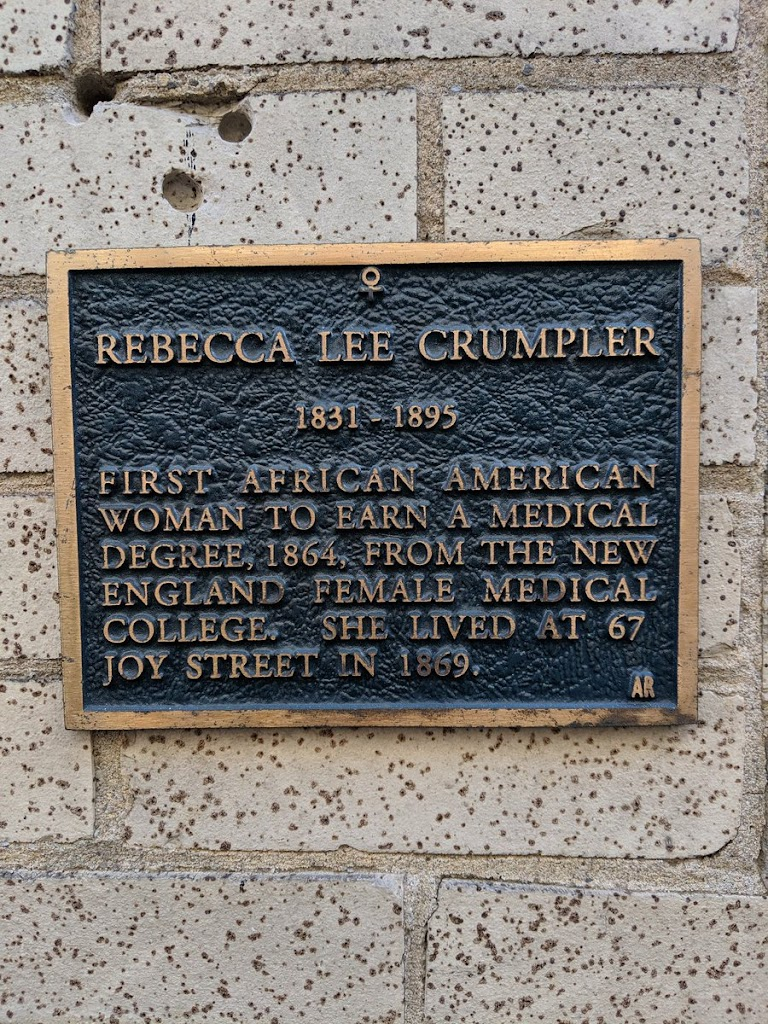 REBECCA LEE CRUMPLER 1831 1895 FIRST AFRICAN AMERICAN WOMAN TO EARN A MEDICAL DEGREE, 1864, FROM THE NEW ENGLAND FEMALE MEDICAL COLLEGE, SHE LIVED AT 67 JOY STREET IN 1869. AR Submitted by ...