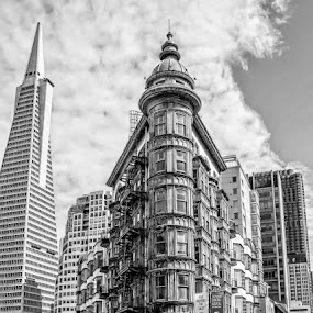 The Sentinel Building in San Francisco by T Sco - Black & White Buildings & Architecture ( building, sky, sentinel, buildings, architecture, san francisco, city,  )