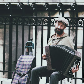 Accordion Player on a Street  by Muzna Hatmi - People Musicians & Entertainers ( expression, music, paris, portrait, streetart )