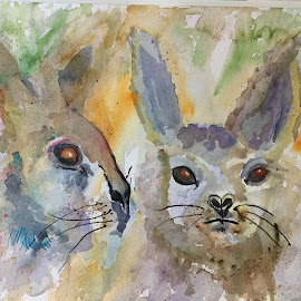 rabbits by Jeanne Knoch - Painting All Painting
