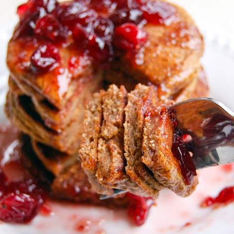 Pumpkin Pancakes with Cranberry Maple Syrup (vegan, oil-free, refined sugar-free)