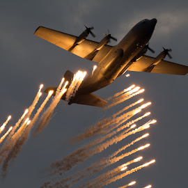 Fire in flight by Dawie Nolte - Transportation Airplanes ( flight, air force, airplane, flares, flare, fire, air show,  )