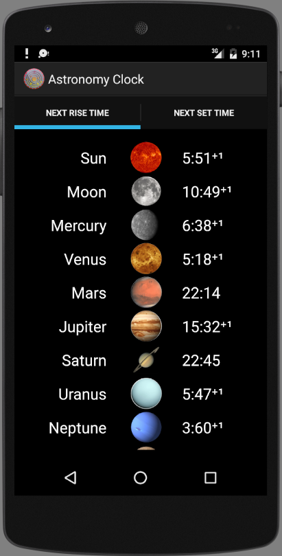 Astronomy Clock Screenshot 1
