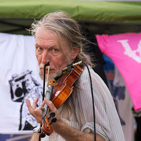 The violin player by Robert Harmon - People Musicians & Entertainers ( street performers, people )