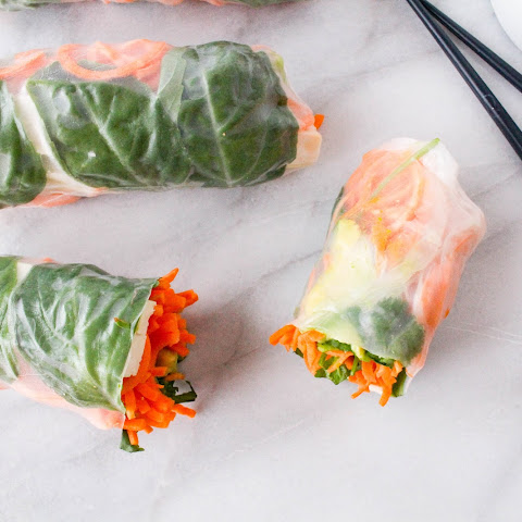 Sweet Potato Spring Rolls with Sesame Ginger Dipping Sauce