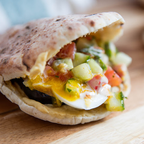 Sabich Sandwiches (Pitas With Eggplant, Eggs, Hummus, and Tahini)