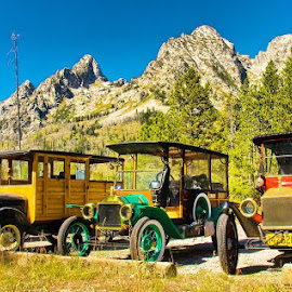 Model T's at the Tetons by Rick Lesquier - Transportation Other