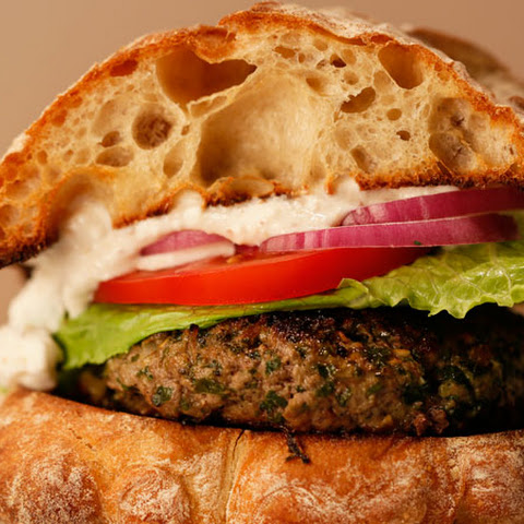 Greek Burgers with Feta Sauce