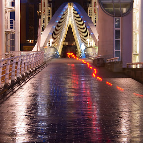 Salford Keys by Christian Rawlinson - Buildings & Architecture Bridges & Suspended Structures ( uk, light trail, england, lancashire, light trails, christian rawlinson, bridge, salford, manchester, dusk, united kingdom )