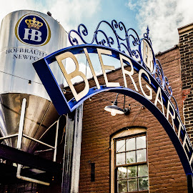 Biergarten by Richard Michael Lingo - Buildings & Architecture Architectural Detail ( hofbrau house, beer, newport, architecture, restaurant, kentucky )
