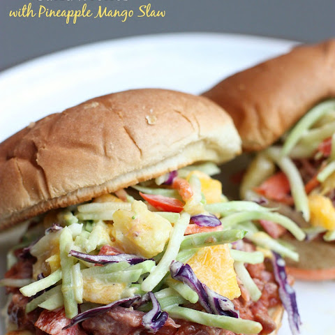 BBQ Pulled Pork Sandwiches with Pineapple Mango Slaw