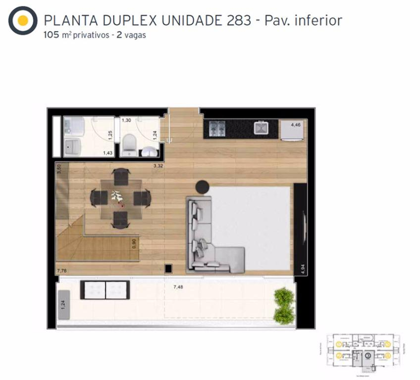Planta Cobertura Duplex Inferior Final 3 - 105 m²