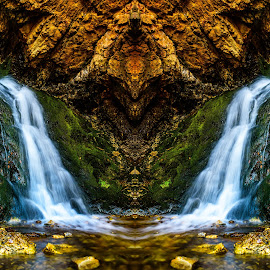 Hidden Falls by Brandon Montrone - Digital Art Places ( water, abstract, mountain, waterfall, art, fine art, moss, landscape, mirror, digital art, long exposure, symmetry, rocks, river )