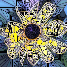 Daisy  by Roxanne Dean - Abstract Patterns ( abstract, patterns, art, yellow, flower )