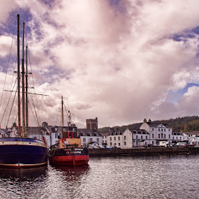 Inverary by Stephanie Moore - Landscapes Waterscapes ( water, scotland, boats, ships, town, inverary )