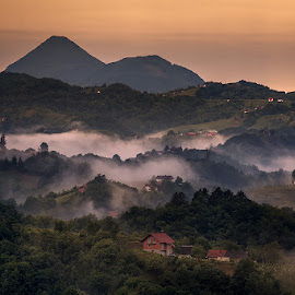 foggy layers... by Dani Turnšek - Landscapes Mountains & Hills ( canon, hills, foggy, fog, layers, slovenia, morning fog, haloze, sunrise, morning )