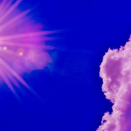 starburst by Andrew Medvegy - Landscapes Cloud Formations ( clouds, blue sky, purple, sunset, sunrise )