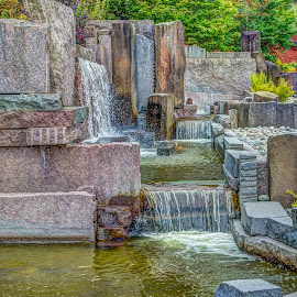Wall Waterfalls HDR by George Cole - City,  Street & Park  Fountains ( structure, waterfalls, flowing, delicate, waterfall, falls, outdoors, artistic, wallls, architecture, scenic, pond )