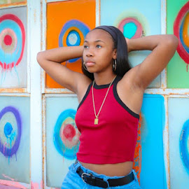 Jonah's Sr Pics by Kathy Suttles - People Street & Candids ( urban, red, artistic, sr pic, abstract thought, sportygurl, young lady )