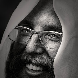 SMILE by Rahul Chowdhury - People Portraits of Men ( black and white, spectacles, male, beard, shade, smile, light, portrait, man, eyes )