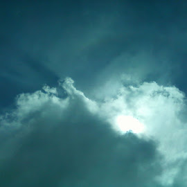 Naturally bluelit by Jill Hingyi - Landscapes Cloud Formations ( clouds, blue light, dark clouds, sunlight, stormy day, sun, serenity, blue, mood, factory, charity, autism, light, awareness, lighting, bulbs, LIUB, april 2nd )