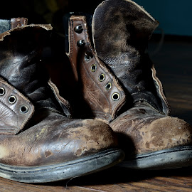 Many a Mile by Tim Hall - Artistic Objects Clothing & Accessories ( worn leather, cracked leather, hiking boots, worn boots, old leather, old boots, red wing boots, ., leather, bootsshoes, boots )