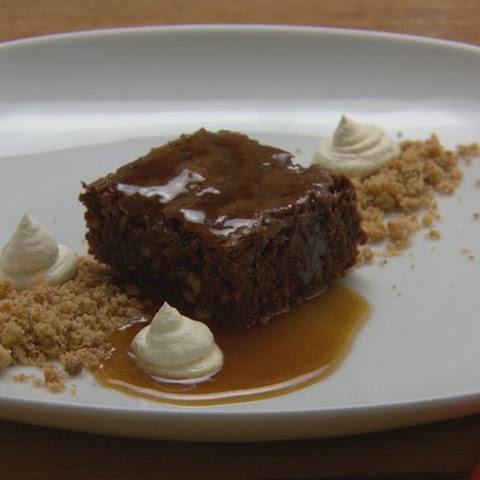 Chocolate Brownie with Walnut Crumb and Salted Caramel Sauce