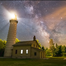 Cana Island Lighthouse by Andy Taber - Landscapes Starscapes