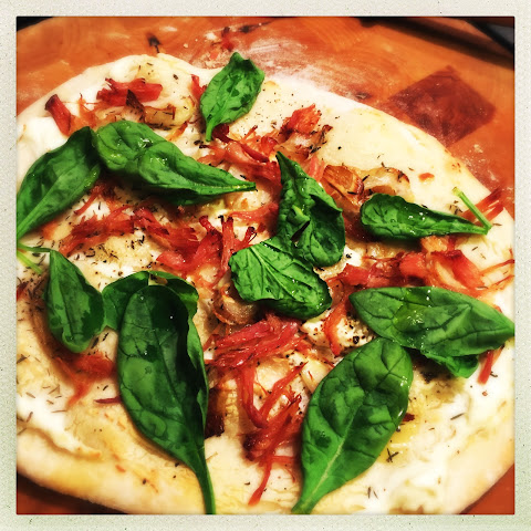 Pizza With Ricotta, Spinach And Roast Ham