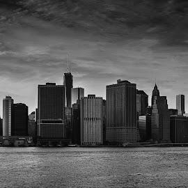 Manhattan by Malkolm Traveler - City,  Street & Park  Skylines ( skyline, america, metropolis, architecture, cityscape, nyc, travel, ny, usa, business, panorama, city, modern, sky, skyscraper, east river, york, financial, office, building, world trade center, manhattan, new york, urban, landmark, new, skyline new york, sunset, cloud, view, high, panoramic )