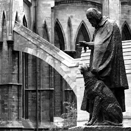 Man's Best Friend by Mick Wells - Buildings & Architecture Statues & Monuments ( statue, church, black and white, dog, man,  )