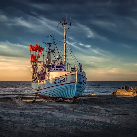 Thorup Strand by Ole Steffensen - Transportation Boats ( jammerbugten, sunset, ship, beach, denmark, thorup strand, boat, fishing vessel )
