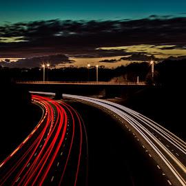 The Open Road by Adam Bowles - Landscapes Travel ( light trail, uk, m57, light trails, motorway, lighttrails, adam bowles, night sky, dusk )