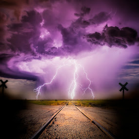 Lightning Road 5 by Glenn Patterson - Digital Art Places ( stormy, lightning, sky, thunderstorm, weather, storm )
