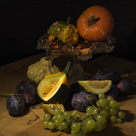 Still life with pumpkins, plums and grapes by Konstantin Kashin - Artistic Objects Still Life ( stilllife, grapes, still life, stylish, pumpkins, plums )