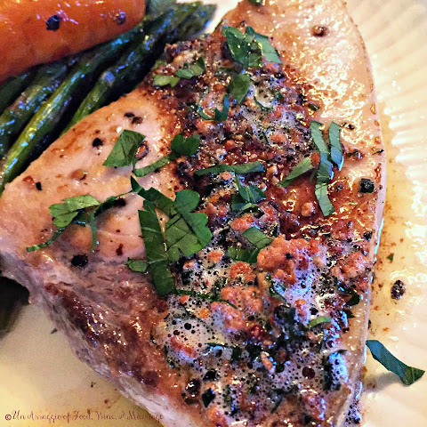 Pan Seared Swordfish with Pepper Brown Butter Sauce