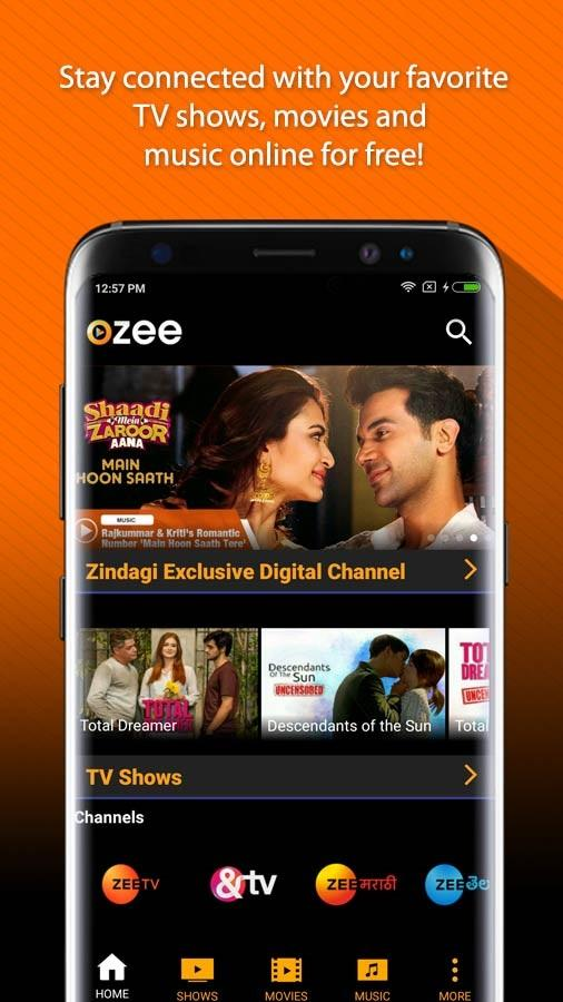 OZEE Free TV Shows Movie Music Screenshot