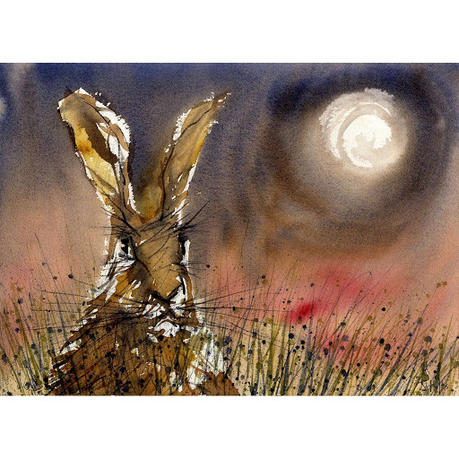 British wildlife painting print moon hare rabbit art