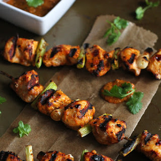 Grilled Chicken Kabobs with Red Pepper Cilantro Pesto