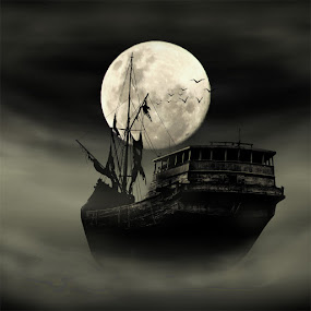 Full moon creepy by Ahay Gart - Digital Art Things ( black and white )