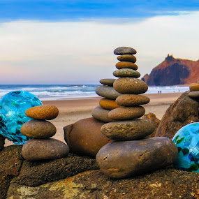 Cairns and Floats by Vonelle Swanson - Artistic Objects Glass ( water, cairns, mountain, or, glass, pacific ocean, beach, floats, stones, rocks )