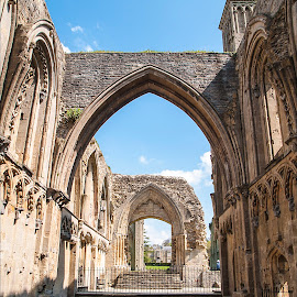 Mediaeval Arches by Zoot The-Tog - Buildings & Architecture Public & Historical ( prayer, monk, ancient, church, window, arch, glastonbury, holy, mediaeval, worship, historic, abbey )
