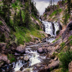 Mystic Falls by Dustin White - Landscapes Mountains & Hills ( mountain, pictorialism, yellowstone national park, waterfall, landscape )