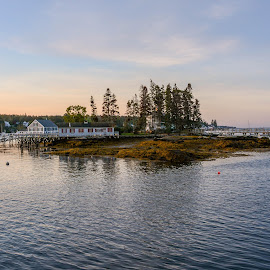 Early Morning Boothbay Harbor by Robert Coffey - Landscapes Waterscapes ( water, harbor, trees, ocean, landscape )