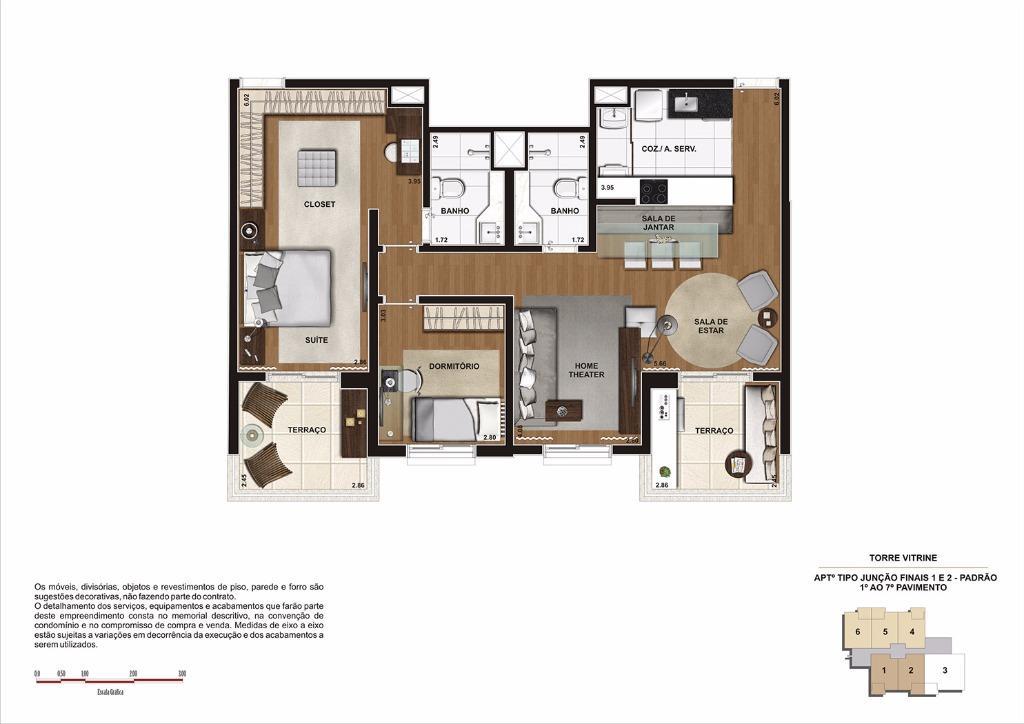 Planta 90 m² Junção Finais 1 e 2 - Do 1 ao 7 Pavimento (Torre Vitrine)