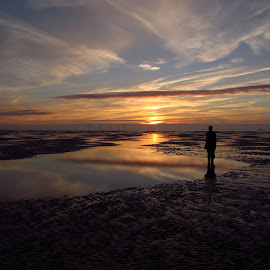 by Emma Payne - Landscapes Sunsets & Sunrises ( statue, sunset, another place, crosby, beach )