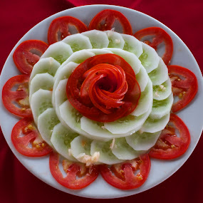 Cucumber and Tomato Salad by Venetia Featherstone-Witty - Food & Drink Plated Food ( red, cucumber tomato salad, salad mandala, green, food & beverage, plated food, tomatoes, eat & drink, cucumbers, meal )