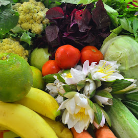 Fresh Fruits and Vegetables by Kuntal Das - Food & Drink Fruits & Vegetables ( green vegetables, banana, cucumber, cabbage, fruits, vegetables )